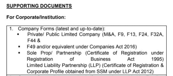 Examples of supporting documents requested in the format that is not relevant to companies incorporated after the year 2016.
